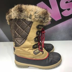 Totes faux fur high lace winter boots